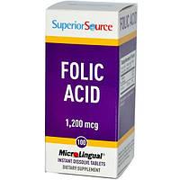 Superior Source, Фолиевая кислота МикроЛингвал, 1200 мкг, 100 таблеток