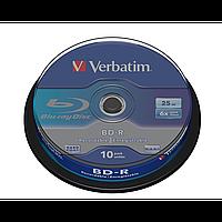 Blu-ray диск verbatim bd-r 25 Гб 6x cake box 10 штук (43742)