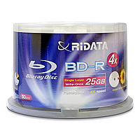 Ridata bd-r sl 25gb 4x cake 50 pcs glossyprint (fullface) (90l7e3rrda012)
