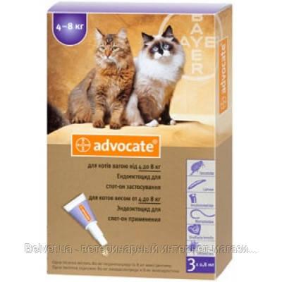 АДВОКАТ (ADVOCATE) Капли на холку для кошек 4-8 кг (1 пипетка х 0,8 мл)
