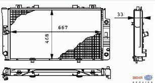 Радиатор охлаждения Mercedes 140 1992-2000 (2.8-3.2 АКП) 667*468мм плоские соты KEMP