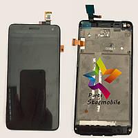 Дисплей для мобильного телефона Lenovo S660, черный, с тачскрином, с рамой, ORIG