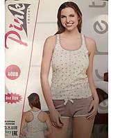 Летняя пижама женская с шортами и майкой-борцовкой