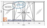 "Балконная рама ПВХ WHS HALO 9-ти, 12-ти этажка ""Чешка"". Косой балкон 2800х1400 мм"