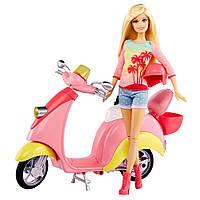 Набор кукла Барби блондинка на скутере Barbie Glam Scooter Pink
