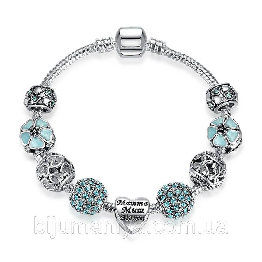 Браслет женский 6355 (скидки) в стиле Пандора Pandora с шармами
