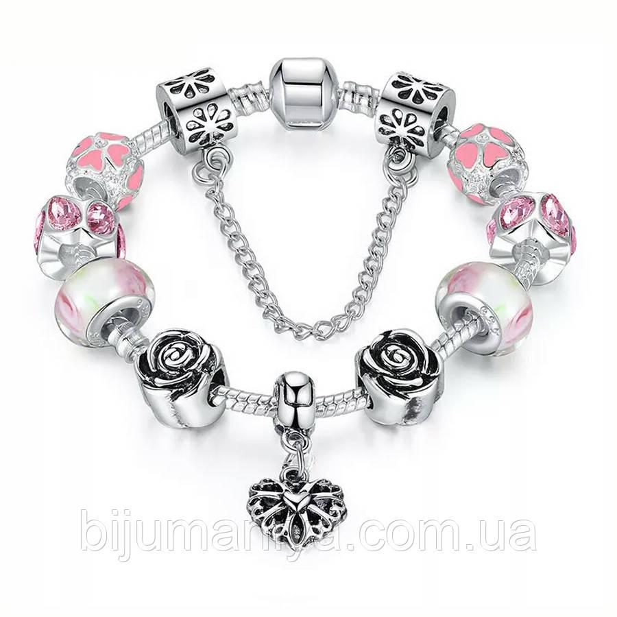 Браслет женский 6335 (скидка) в стиле Пандора Pandora с шармами