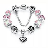 Браслет женский 6335 (скидка) в стиле Пандора Pandora с шармами, фото 1
