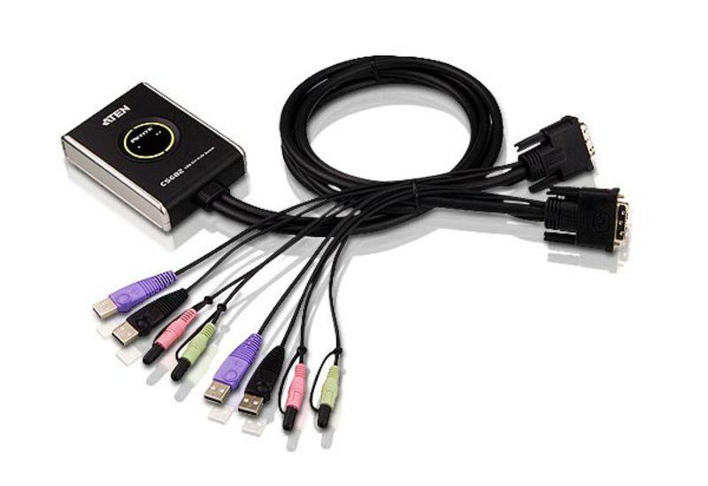 CS-682-портовый USB DVI + Звук + Микрофон Міни-КВМ переключатель, встроеные кабеля