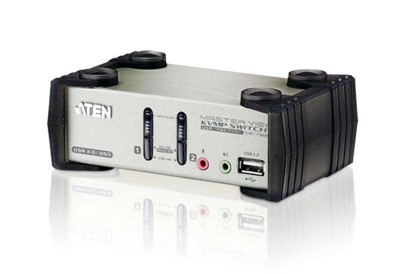 CS1732B 2-портовый настольный USB KVM переключатель + 2xUSB порта, комплект кабелей, ATEN.