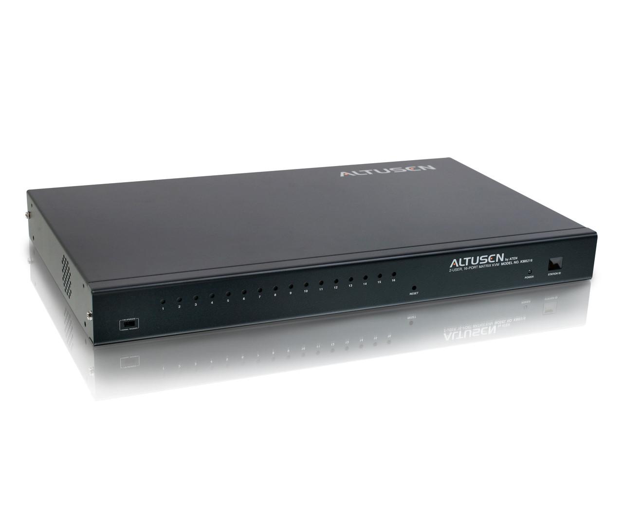 KM0216 1U 2-консольный 16-портовый матричный KVM переключатель, ALTUSEN.