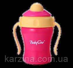 Кружка с соломинкой 220 мл. BabyOno 1036 (Розовая)