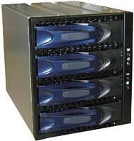 """AIC  XC-34D-SA10-2  Корзина 3 x 5.25"""" с салазками """"горячей"""" замены (черно-синие ручки, с подпружиненной защелкой) для 4 x 3.5"""" SAS/SATA2 HDD, Вентилят"""