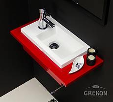 Столешница красная + раковина UMJ-400x220 KLIF