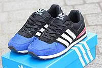 Женские кроссовки ADIDAS, замша + плотная сетка, синие с черным / кроссовки для фитнеса женские Адидас