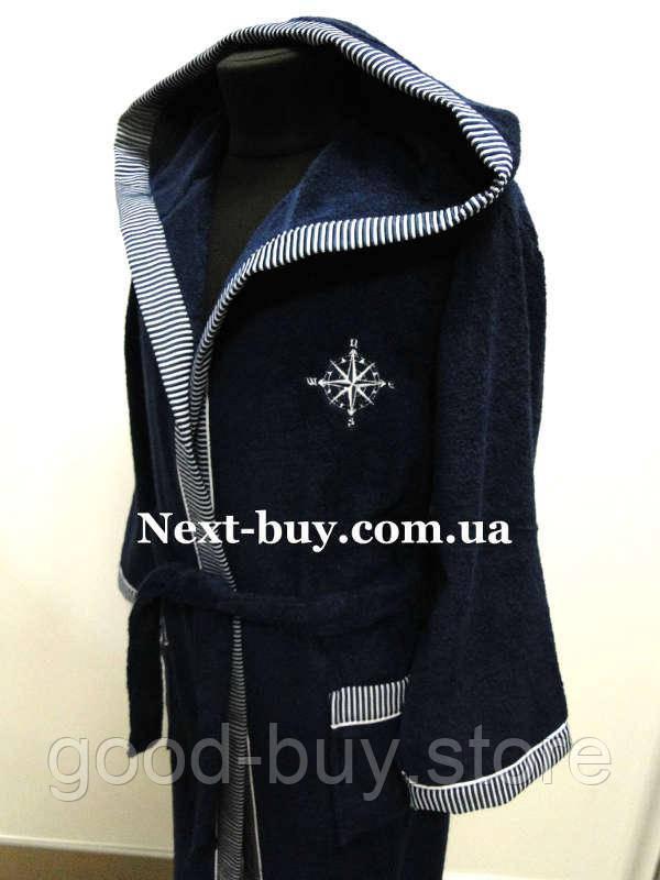 b24128b2119f ... Мужской махровый халат Maison Dor Marine Club с капюшоном и тапками  синий, ...