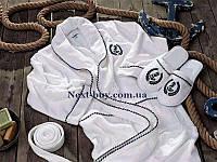 Мужской махровый халат Maison Dor Paris Michel Sailing с тапками белый