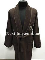 Мужской махровый халат Maison D`or Quattro с воротником коричневый
