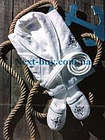 Мужской махровый халат Maison Dor Paris Marine Club с тапками белый