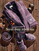 Мужской махровый халат Maison D`or Paris Boswel с шалевым воротником и тапками фиолетовый