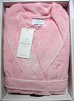 Женский халат бамбуковый Maison D`or Paris Gloria с кружевом розовый