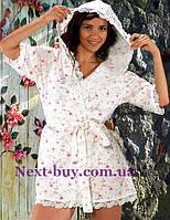 Женский халат вафельный Maison D`or Paris Roses Camile с кружевом