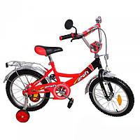 """Детский велосипед Profi Clasik 16 """" P 1646A от 4 лет с боковыми колесами красно-черный"""