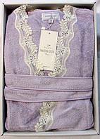 Женский халат бамбуковый Maison D`or Paris Dina Long с кружевом сиреневый