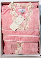 Женский халат бамбуковый Maison D`or Paris Dina Long с кружевом розовый