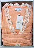 Женский халат бамбуковый Maison D`or Paris Dina Long с кружевом персиковый