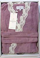 Женский халат бамбуковый Maison D`or Paris Dina Long с кружевом фиолетовый