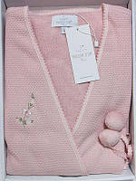 Женский халат махровый Maison D`or Paris Adelynn с махровой сеткой и вышивкой розовый