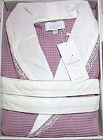 Женский халат вафельный Maison D`or Paris Rene Long с кружевом фиолетовый