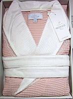 Женский халат вафельный Maison D`or Paris Rene Long с кружевом грязно-розовый