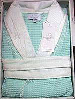 Женский халат вафельный Maison D`or Paris Rene Long с кружевом бирюзовый