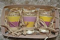 Свеча интерьерная ручной работы набор в стекле