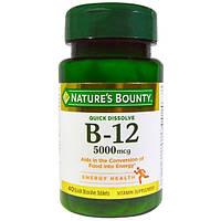 Natures Bounty, B-12, 5000 мкг, 40 быстрорастворимых таблеток