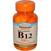 Витамин В12 (цианокобаламин)  Vitamin B 12 Sundown Naturals 500 мкг, 200 таблеток