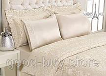 Постельное белье Maison D`or Gupurlu Bej 160x220см 2шт бамбук жаккард с гипюром