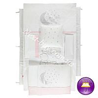 Bebetto AYLI AYI постельное белье в кроватку с защитой серебро + розовый