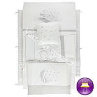 Bebetto AYLI AYI постельное белье в кроватку с защитой серебро + крем