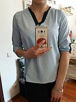 Голубая летняя блузочка из натуральной ткани,  S,M,L р-ры, 250/220 (цена за 1 шт. + 30 гр.)