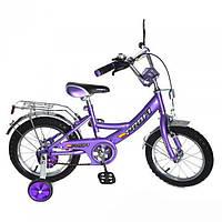 """Детский велосипед Profi Clasik 16 """" от 4 лет с боковыми колесами фиолетовый"""