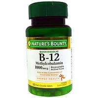 Natures Bounty, B-12, 1000 мг, 60 быстрорастворимых таблеток