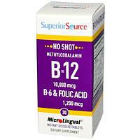 Superior Source, B-12 10000 мкг / B-6 и фолиевая кислота 1200 мкг, 30 микролингвальных быстрорастворимых таблеток
