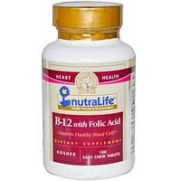 NutraLife, B-12 с фолиевой кислотой, 180 жевательных таблеток