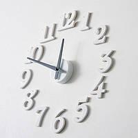 Часы интерьерные настенные с арабскими цифрами (диаметр 0,5 - 0,7 м) белые [Пластик]