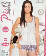 Женская турецкая пижама с шортами и майкой в горошек