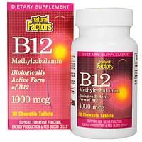 Natural Factors, B12 метилокобаламин, 1000 mcg, 90 жевательных таблеток