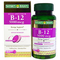 Natures Bounty, Dual Spectrum B-12 , 5000 mcg, 30 Bi-Layer Tablets